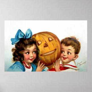 Frances Brundage: Boy and Girl with Jack O'Lantern Poster