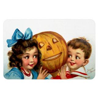 Frances Brundage: Boy and Girl with Jack O'Lantern Rectangular Photo Magnet