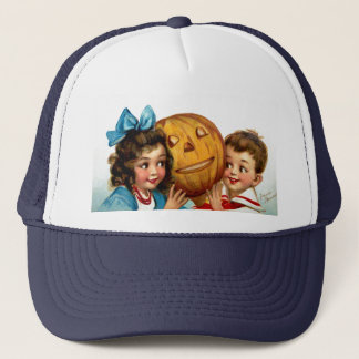 Frances Brundage: Boy and Girl with Jack O'Lantern Trucker Hat
