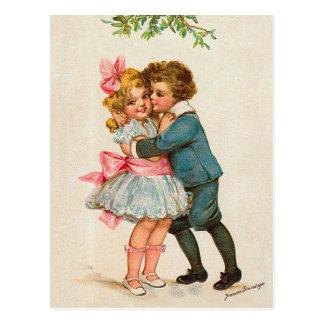 Frances Brundage - Children under Mistletoe Postcard