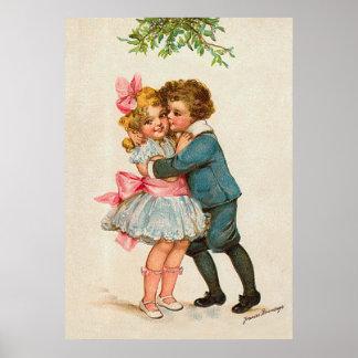 Frances Brundage - Children under Mistletoe Poster
