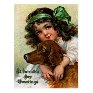 Frances Brundage: Girl with Dog Postcard