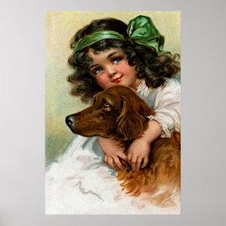 Frances Brundage: Girl with Dog Poster
