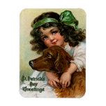 Frances Brundage: Girl with Dog Rectangle Magnets