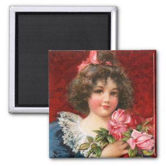 Frances Brundage: Girl with Roses 2 Inch Square Magnet