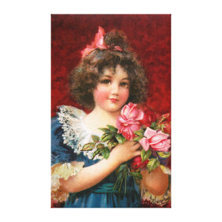 Frances Brundage: Girl with Roses Stretched Canvas Prints