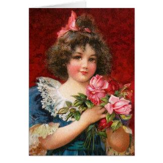 Frances Brundage: Girl with Roses Card