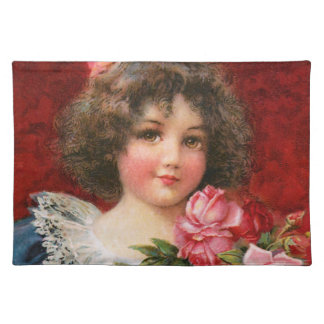 Frances Brundage: Girl with Roses Placemat