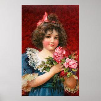 Frances Brundage: Girl with Roses Poster