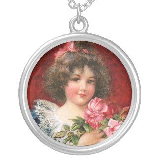 Frances Brundage: Girl with Roses Round Pendant Necklace