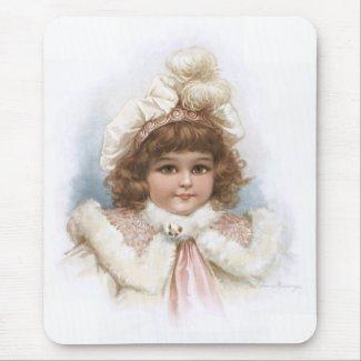 Frances Brundage - Little Girl with Fur Collar mousepad