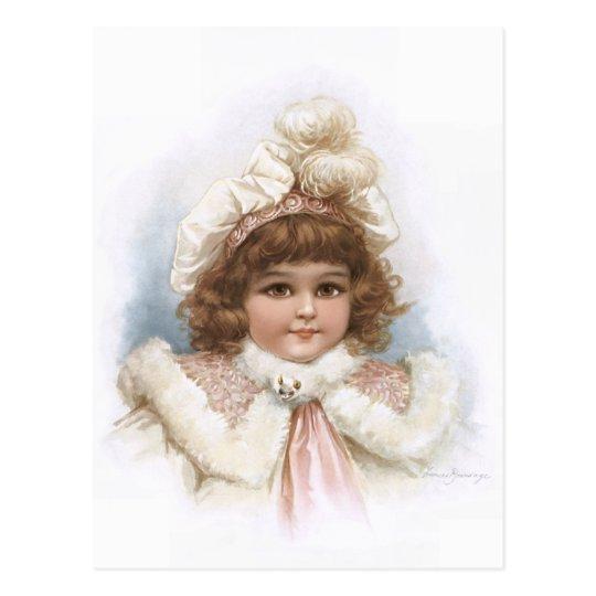 Frances Brundage - Little Girl with Fur Collar Postcard