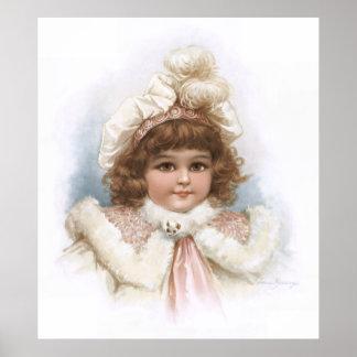 Frances Brundage - Little Girl with Fur Collar Poster