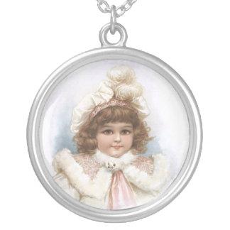 Frances Brundage - Little Girl with Fur Collar Round Pendant Necklace