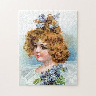 Frances Brundage - Portrait of a Flowery Girl Jigsaw Puzzle
