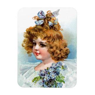 Frances Brundage - Portrait of a Flowery Girl Magnets