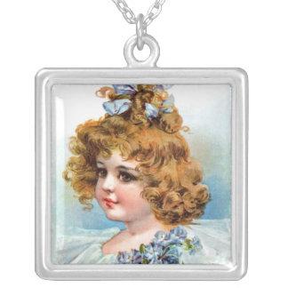 Frances Brundage - Portrait of a Flowery Girl Square Pendant Necklace