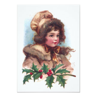 Frances Brundage: Winter Girl with Holly 5x7 Paper Invitation Card
