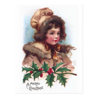 Frances Brundage: Winter Girl with Holly Postcard