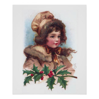 Frances Brundage: Winter Girl with Holly Poster