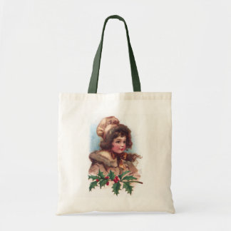 Frances Brundage: Winter Girl with Holly Tote Bag