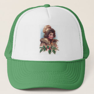 Frances Brundage: Winter Girl with Holly Trucker Hat