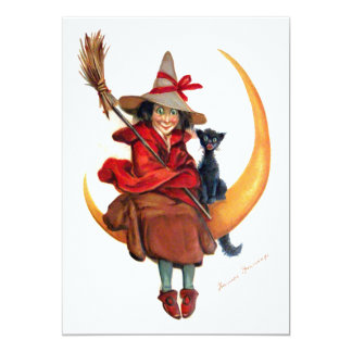 Frances Brundage: Witch on Sickle Moon 5x7 Paper Invitation Card