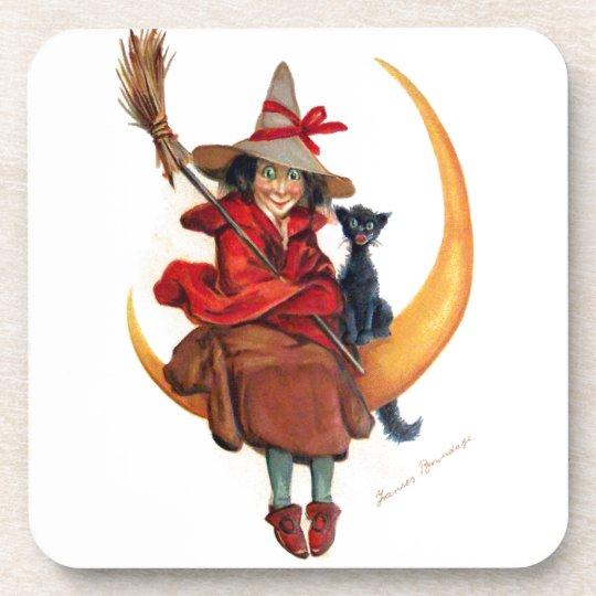 Frances Brundage: Witch on Sickle Moon Drink Coaster