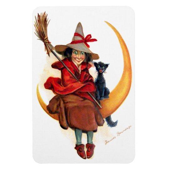 Frances Brundage: Witch on Sickle Moon Magnet