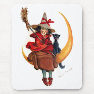 Frances Brundage: Witch on Sickle Moon Mouse Pad