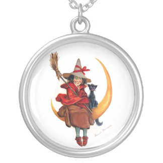 Frances Brundage: Witch on Sickle Moon Personalized Necklace
