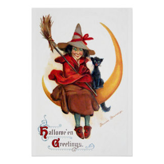 Frances Brundage Witch on Sickle Moon Poster
