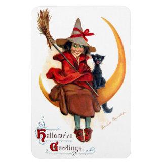 Frances Brundage: Witch on Sickle Moon Rectangular Photo Magnet