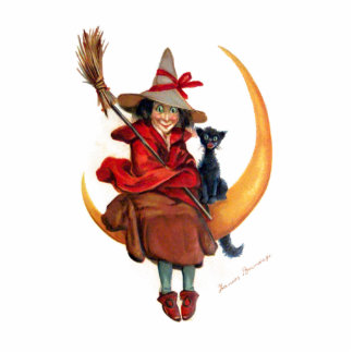 Frances Brundage: Witch on Sickle Moon Statuette