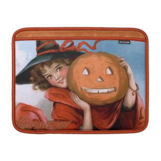 Frances Brundage: Witch with Jack O'Lantern Sleeve For MacBook Air