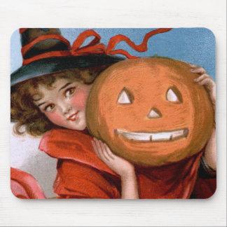 Frances Brundage: Witch with Jack O'Lantern Mouse Pad