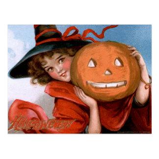 Frances Brundage: Witch with Jack O'Lantern Post Cards