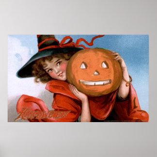 Frances Brundage: Witch with Jack O'Lantern Posters