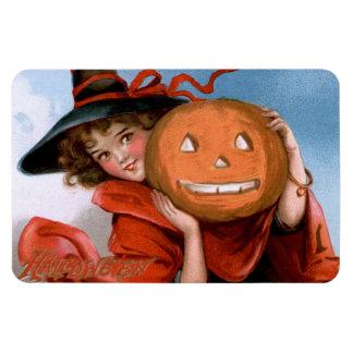 Frances Brundage: Witch with Jack O'Lantern Rectangular Photo Magnet