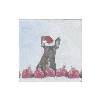 Francés Bulloog del navidad Imán De Piedra