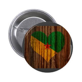 Francés+Corazón de la bandera de Guayana en el Pin Redondo 5 Cm