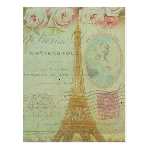 Francés de los rosas de la torre Eiffel de París d Postal