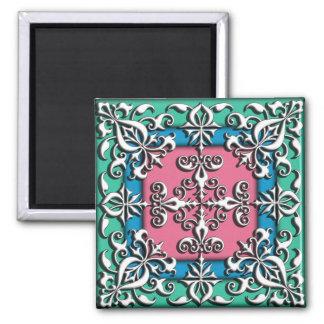 Francés decorativo del ornamento del vintage imán cuadrado
