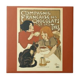 Francés del anuncio del vintage de Compagnie Azulejo Cuadrado Pequeño