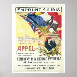 francés del préstamo de la defensa nacional del pr poster