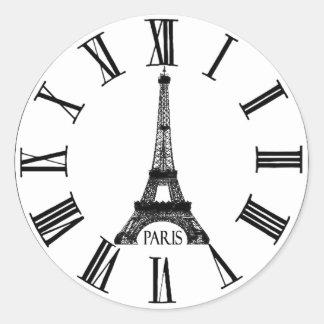 Francés del reloj de la torre Eiffel de París Pegatina Redonda