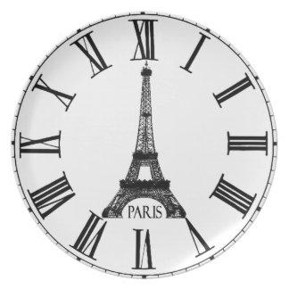 Francés del reloj de la torre Eiffel de París Platos De Comidas
