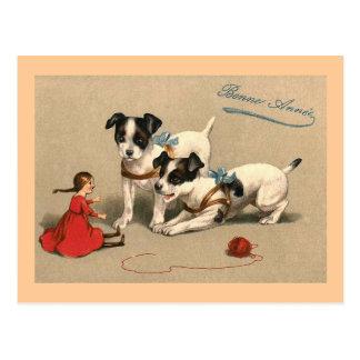 Francés del vintage de Bonne Annee Tarjetas Postales