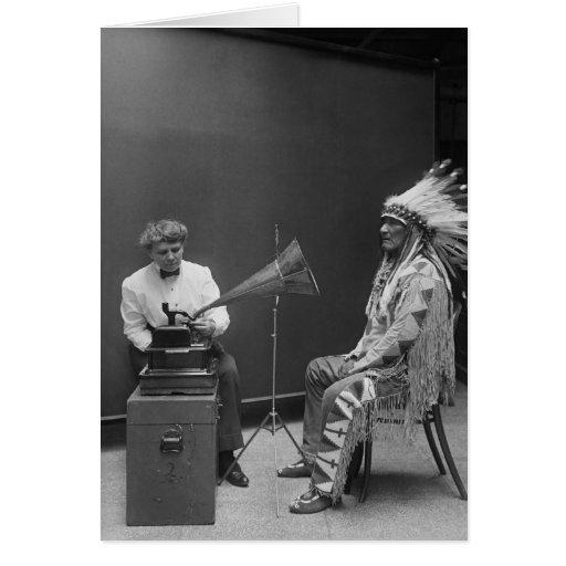 Frances Densmore Audio Recording Blackfoot Chief Card