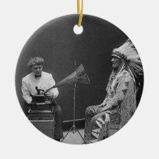 Frances Densmore Audio Recording Blackfoot Chief Ceramic Ornament